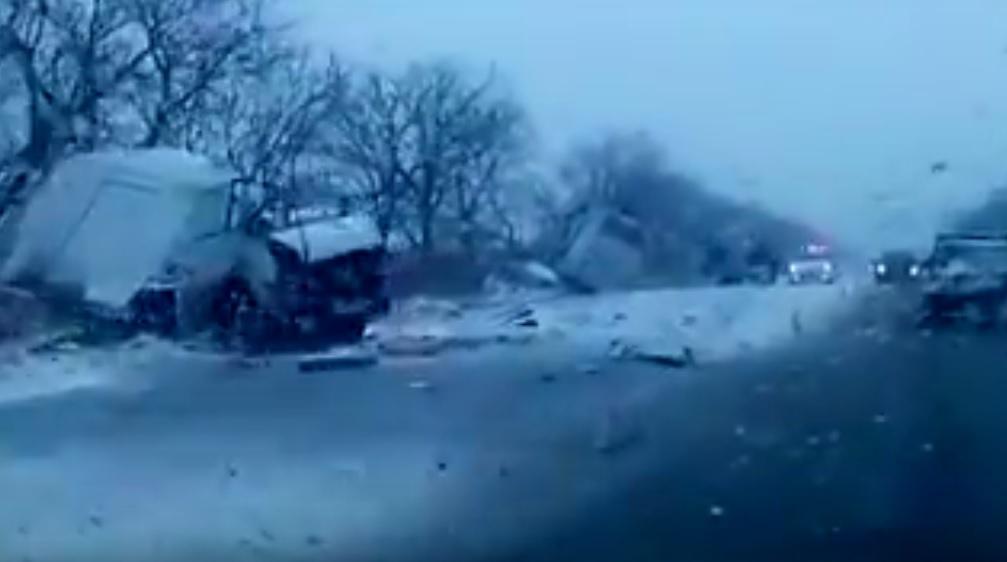 Появилось первое видео сместа ДТП в Российской Федерации, вкотором погибли дети